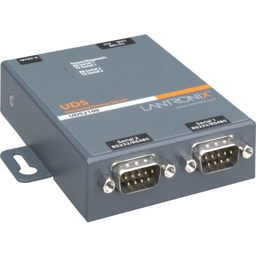 Lantronix 2 Port Serial (RS232/ RS422/ RS485) to IP Ethernet Device Server - US Domestic 110 VAC by Lantronix