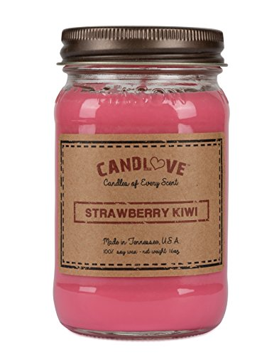 """CANDLOVE """"Kiwi Strawberry Scented 16oz Mason Jar Candle 100% Soy Made in The USAÂ"""