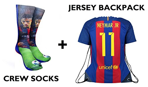 Junior Drawstring Backpack (Forever Fanatics Barcelona Neymar Jr #11 Soccer Fan Gift Set Bundle ✓ Neymar Jr #11 Crew Socks Sizes 6-13 ✓ Matching Neymar Jr #11 Jersey Drawstring Backpack (Size 6-13, Neymar Jr #11 Gift Set))