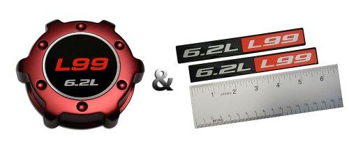 (COMBO – L99 6.2L RED OIL CAP in Billet Aluminum + 2 x (pair/set) RED BLACK 6.2L Liter L99 Real Aluminum Engine Hood Emblem Badge Nameplate Crate for Chevrolet Camaro 09 10 11 12 13 14 2009 2010 2011 2012 2013 2014)
