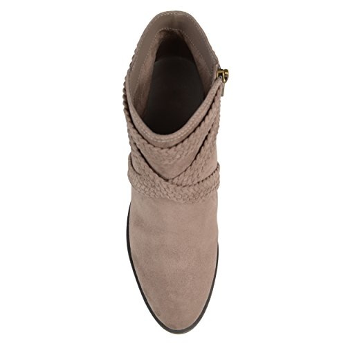 Brinley Co Mujeres Sadie Faux Suede Almond-toe Correa Cruzada Botines Taupe
