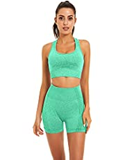 Toplook Women Seamless Yoga Workout Set 2 Piece Outfits Gym Shorts Sports Bra (Light Green, Small)