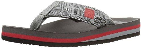 (Reef Boys' Ahi Light Up Prints Sandal, Red/Grey, 4-5 M US Big Kid)