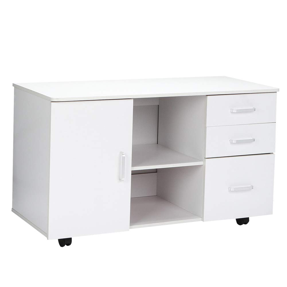Mobile File Cabinet, Modern Rolling Filing Office Cabinet Storage Organizer, Durable Desk Cabinet Printer Stand with 3 Drawers, 2 Tier Shelves and 360° Rotatable Wheels for Home Office Bedroom -White by Ejoyous