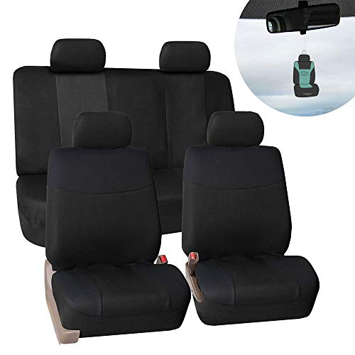 FH Group FB056114 Modern Flat Cloth Full Set Seat Covers, Solid Black Color w Fit Most Car, Truck, SUV, or Van