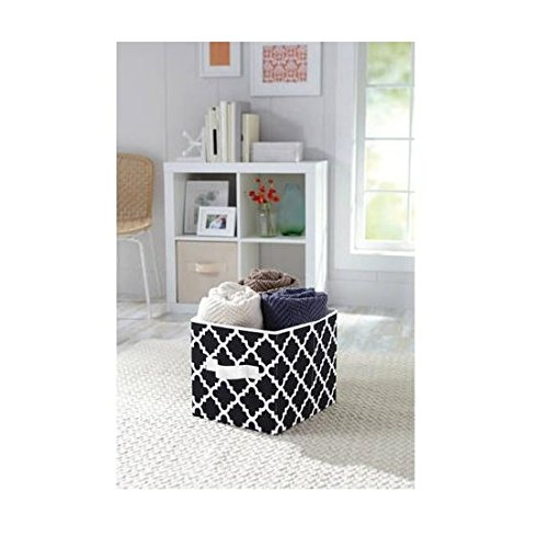 UPC 731084398782, Black Vertical Trellis Collapsible Fabric Storage Cube Can Hold a Variety of Objects, Such As Magazines, Trinkets, Small Toys and More