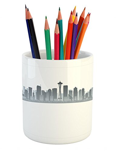 Lunarable Seattle Pencil Pen Holder, Silhouette of Washington City Tourist Attraction Space Needle in The Middle, Printed Ceramic Pencil Pen Holder for Desk Office Accessory, Grey and Pale Grey