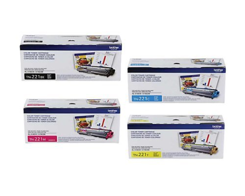 Genuine Brother TN221 (TN-221) Color (BK/C/M/Y) Toner Cartridge 4-Pack (TN221BK, TN221C, TN221M, TN221Y) Brother HL-3140CW, HL-3170CDW, MFC-9130CW, MFC-9330CDW, MFC-9340CDW, Office Central