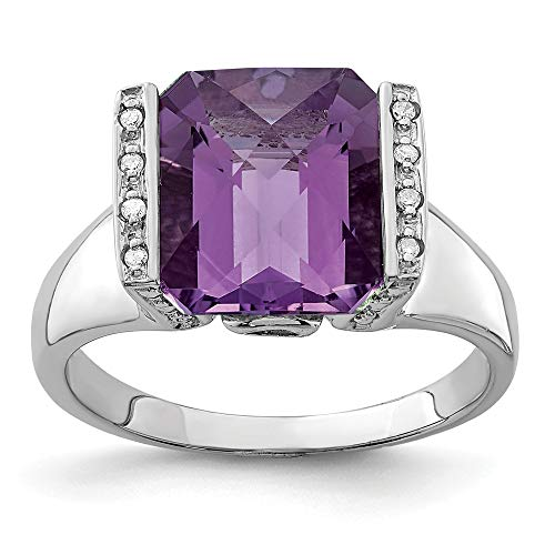 - Octagonal Amethyst and .04 Ctw (H-I Color, I2-I3 Clarity) Diamond Silver Ring, Size 10