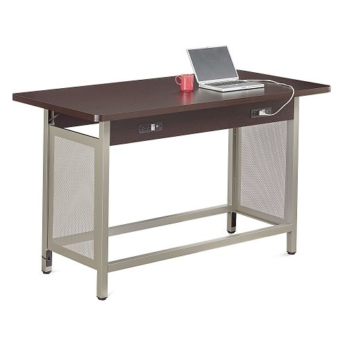 at Work Collaborative Island 72''W x 37''D Espresso Laminate/Brushed Nickel Painted Steel Frame