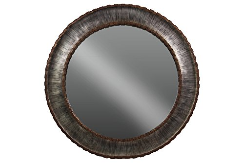 UTC33109 Metal Round Wall Mirror with Sunburst Design Frame Brushed Finish Silver by Urban Trends Collection