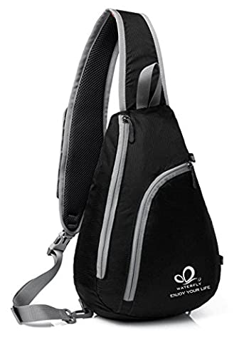 WATERFLY Chest Sling Shoulder Backpacks Bags Fashion Cute Crossbody Rope Triangle Pack Rucksack for Hiking or Multipurpose Daypacks and School Handbag for Man Women Lady Girl Teens (Black)