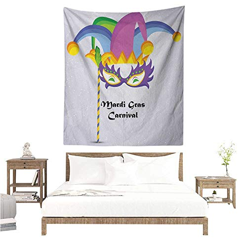 Willsd Mardi Gras DIY Tapestry Mardi Gras Carnival Inscription with Traditional Party Icons Clown Costume Hat Literary Small Fresh 54W x 84L INCH -