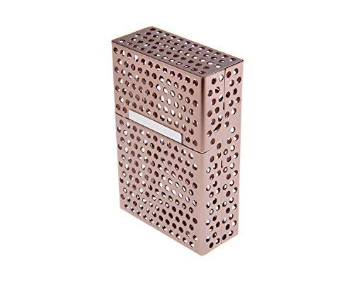 Nomadic Trader Aluminium Alloy Cigarette Case, in Cigarette Pack Shape, with Stylish Hole Design, Holds 18 Cigarettes, Colour: Gold, Mod. 478-06 (US)