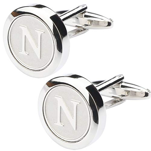 Dannyshi Mens Classic Stainless Steel Initial Cufflinks 26 Alphabet Initial Letter Cufflinks Business Wedding Shirts A-Z (N) ()