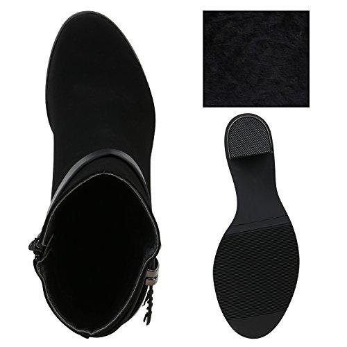 Gefütterte Damen Stiefeletten Retro Look Fell High Heels Boots Flandell Schwarz Brooklyn