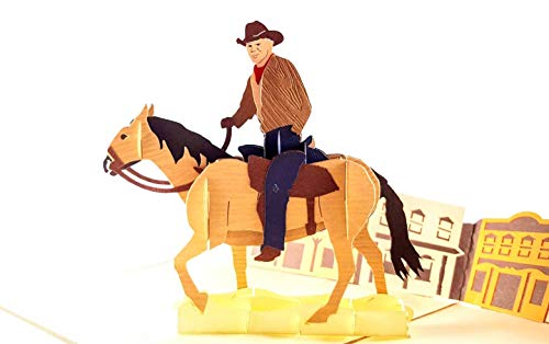 - iGifts And Cards Inspirational Cowboy 3D Pop Up Greeting Card - All Occasion, Happy Birthday, Friendship, Congratulations, Just Because, Half-Fold, Horse, Gift, Unique, Motivation, Saloon, Wow Bronco