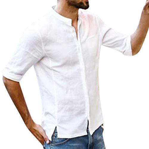 Men's Summer Shirts,LuluZanm Sale Button Solid Color Fashion