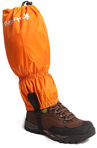 ChezMax Unisex Double Sealed Velcro Zippered Closure TPU Strap Waterproof Leg Gaiters Leggings Wrap for Skiing Snowboarding Hiking Climbing