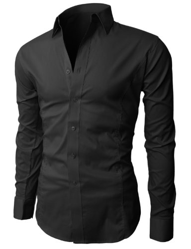 H2h men 39 s wrinkle free slim fit dress shirts buy online for Wrinkle free dress shirts amazon
