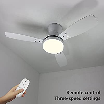 "NATSEN 42"" LED Semi Flush Mount Ceiling Fan Lighting with Remote Control, Three White Blades and Frosted Glass Cover (White) for Bedroom, Dining Room and Living Room"