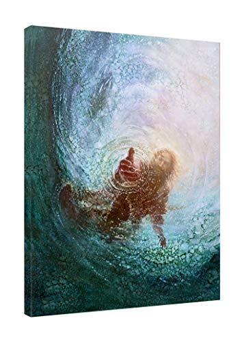 - AMEMNY Jesus Under Water Teal Blue Print on Canvas Christian Pictures On Canvas Home Decor for Home Bedroom Living Room Office Framed Ready to Hang