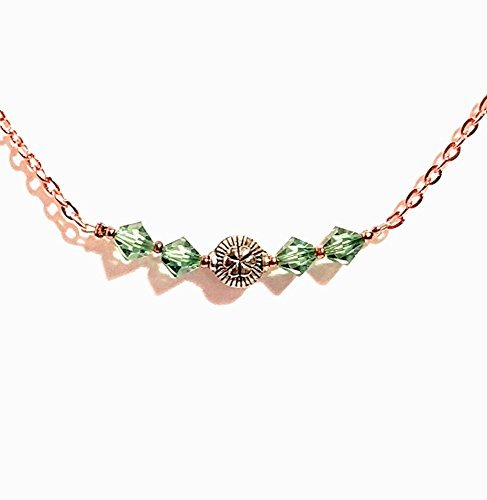 Swarovski Crystal Bar Necklace Copper Peridot Chain Necklace - Crystal Copper Bicone