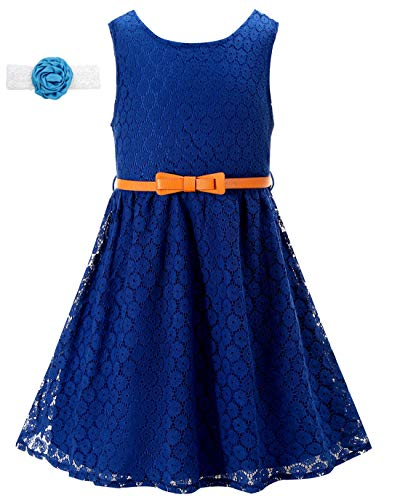 (Lace Dress Navy Blue Flower Girl Dresses for Toddler Casual Wedding Bridesmaid Easter Formal Pageant Kids 2T A-Line Sleeveless Sundress Size 24M Lace Dresses for Girls (Navy Blue,110))