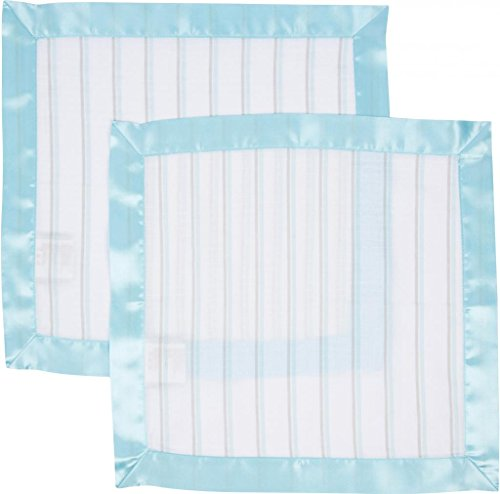 MiracleWare Muslin Security Blanket, Blue and Gray Stripes, 2 Pack