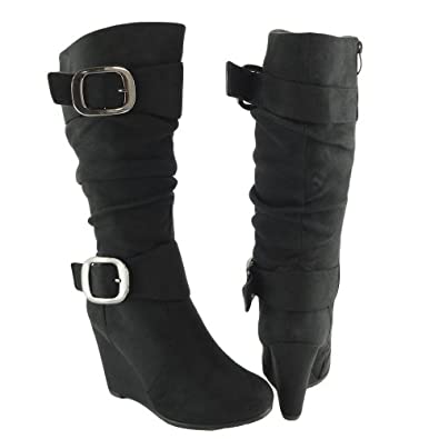 Amazon.com | Women Knee High Faux Suede Wedge Boots Black /W ...