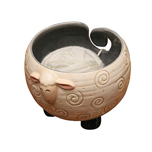 WHAT ON EARTH Sleepy Sheep Ceramic Yarn Bowl Knitting Bowl - Holds Ball of Yarn for Tangle Free Needlecrafts ()