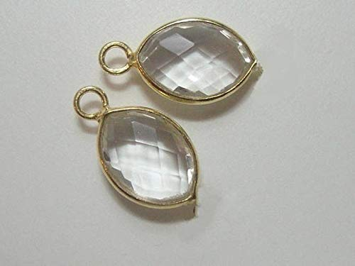 2 pcs, 16mm, 8x11mm Stone, Faceted Clear Quartz Gold Vermeil Bezel Rim Tiny Leaf Pendant Earring Findings, Small Marquise, April Birthstone