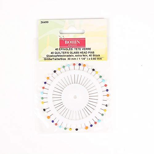 手芸 ホビー 針 裁縫道具 カラフルガラスヘッドのピン針 40本入り BOHIN