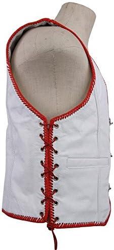 MDM Wei/ße Lederweste mit roten Kordeln
