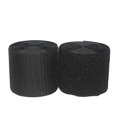 HUAYY 3 inches Width 3 Yards Length,Sew on Hook and Loop Style,Non-Adhesive Nylon Strips Fabric,Black (3in x 3yd) by Huayueyun