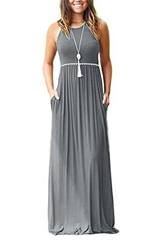 GAMISOTE Women's Sleeveless Maxi Dress Loose Plain Casual Long Dresses Pockets