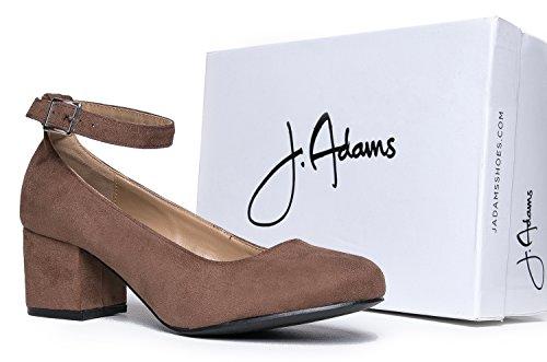 1519e88dfdb5 J. Adams Low Round Toe Ankle Strap Heel - Comfortable Chunky Block Heel  Sandal -