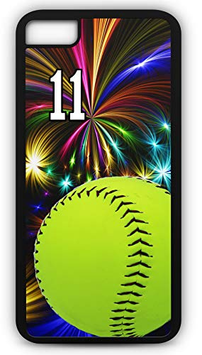 iPhone 7 Plus 7+ Case Softball S059Z Choice of Any Personalized Name or Number Tough Phone Case by TYD Designs in Black Plastic and Black Rubber with Team Jersey Number 11 ()