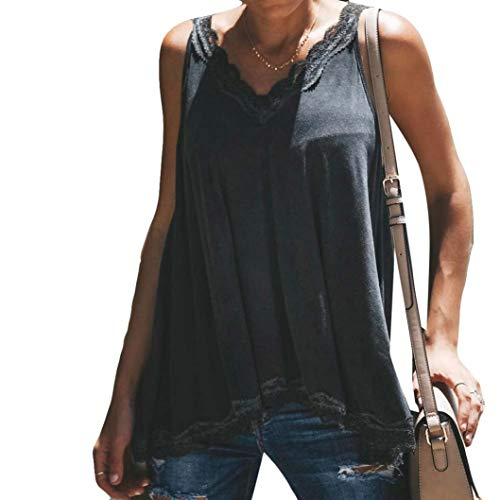 Toimoth Fashion Womens Sexy Lace Cotton Vest Camisole Sleeveless T-Shirt V-Neck Tank Tops(Black,L)