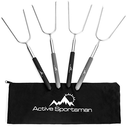 Active Sportsman 45-Inch Extra Long Telescoping Marshmallow Roasting Sticks, Pack of 4