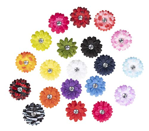 Craft Flowers - 100-Pack Fake Flowers for Craft, Mini Daisy Flower Embellishments with Rhinestone, 2-Inch Assorted Color Fabric Crafting Flowers for Craft, DIY Wedding Decorations, Ornaments