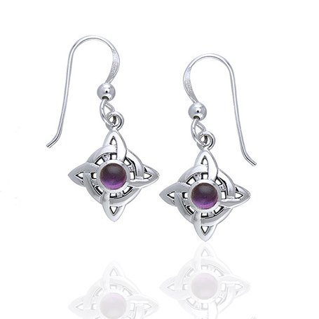 Wheel of Being - Four Point Celtic Knot Northstar and Genuine Amethyst Sterling Silver Hook Earrings (Sterling Silver Four Point)