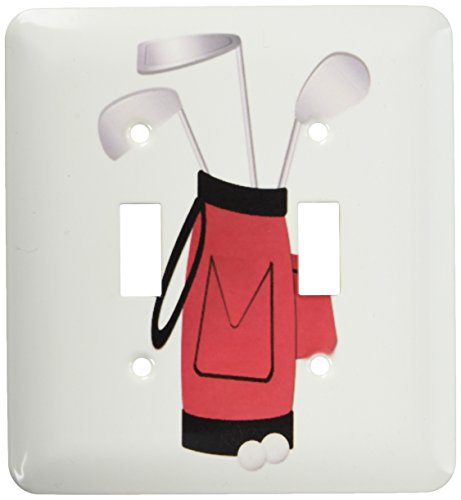Toggle Bag (3dRose LLC lsp_56047_2 Red Golf Bag Double Toggle Switch)