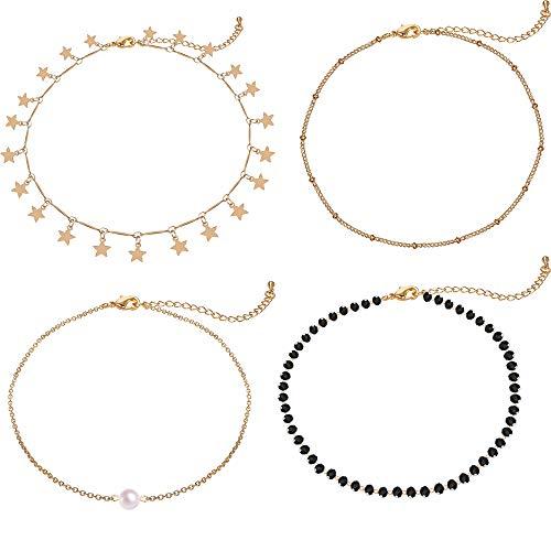 Gold Star Choker Necklace Jewelry Pearl Handmade Choker pendent Women Chain Dainty Choker 4 Pieces Set Girls
