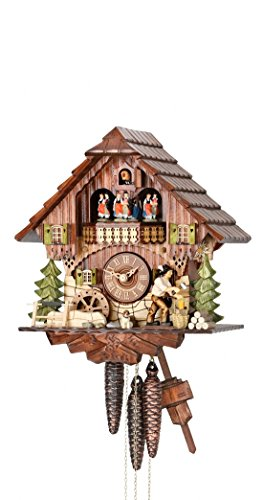 - German Cuckoo Clock 1-day-movement Chalet-Style 12.00 inch - Authentic black forest cuckoo clock by Hekas