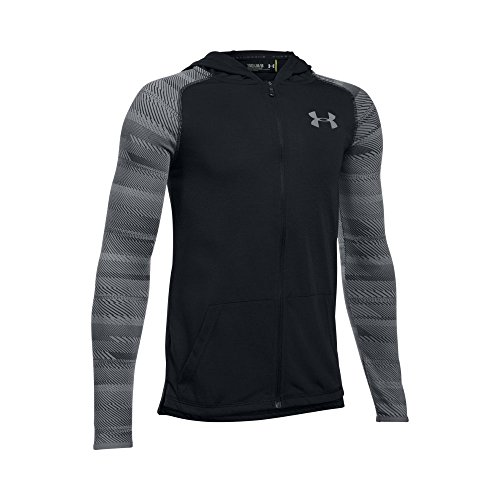 (Under Armour Boys' Threadborne Full Zip Hoodie,Black /Steel, Youth X-Small)