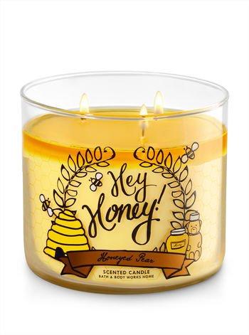 Bath & Body Works Hey Honey Honeyed Pear Scented 3 Wick 14.5 Ounce (Honey Pear)