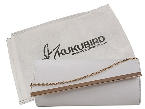 Kukubird Yami Angular Flap Clutch Bag Prom Party with Kukubird Dustbag - White