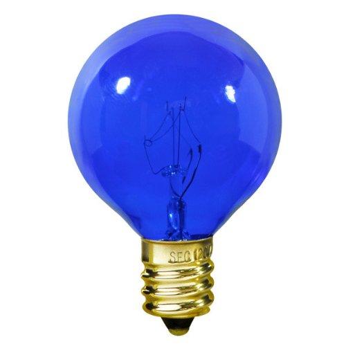 - Satco S3834 - 10 Watt Light Bulb - G12 Globe - Transparent Blue - 1,500 Life Hours - Candelabra Base - 120 Volt