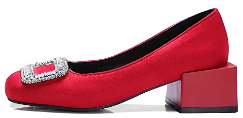 Idifu Donna Elegante Strass Metà Tacco Grosso Pumps Low Top Slip On Wear To Work Shoes Red